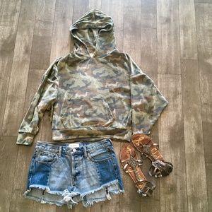 American Eagle army print velvet sweatshirt hoodie